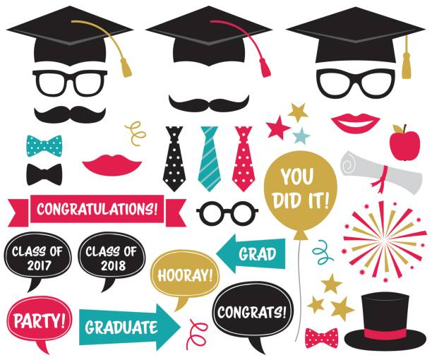 graduation party design elements and photo booth props - photo booth stock illustrations, clip art, cartoons, & icons