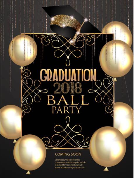 ilustrações, clipart, desenhos animados e ícones de banner elegante festa de formatura com elementos de design dourado e balões de ar. ilustração vetorial - baile de graduação