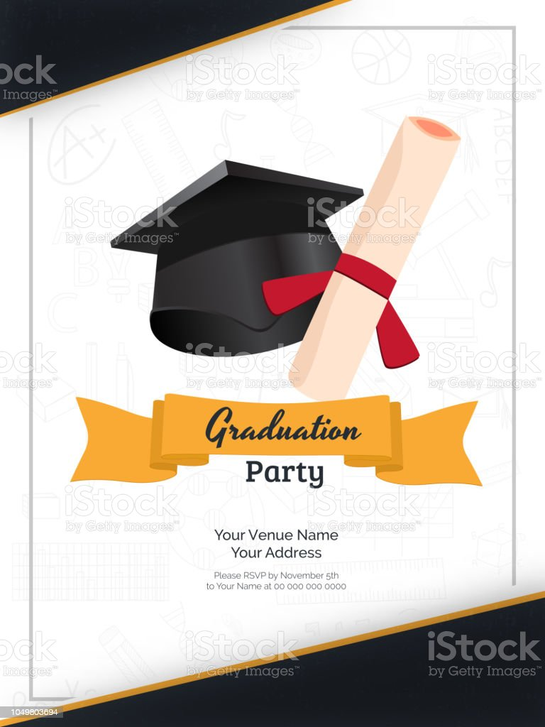 Graduation Party Invitation Card Or Template Design With