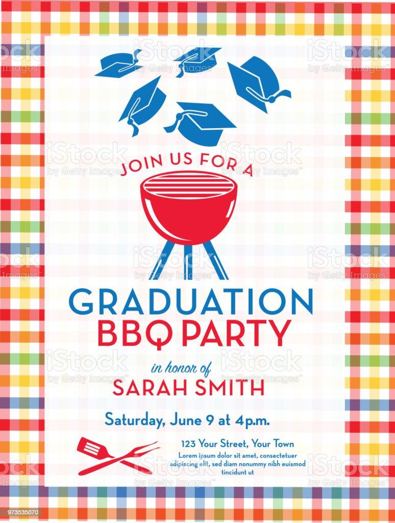 Bbq Graduation Party Invitation Design Template Stock Illustration