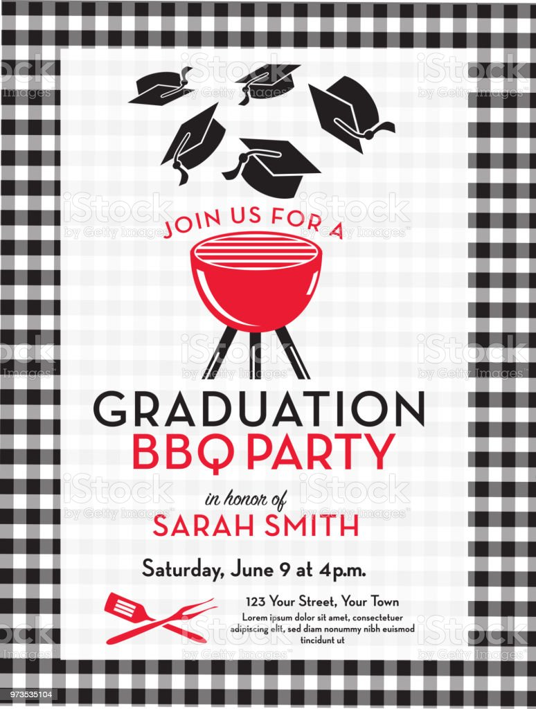 bbq graduation party invitation design template stock vector art