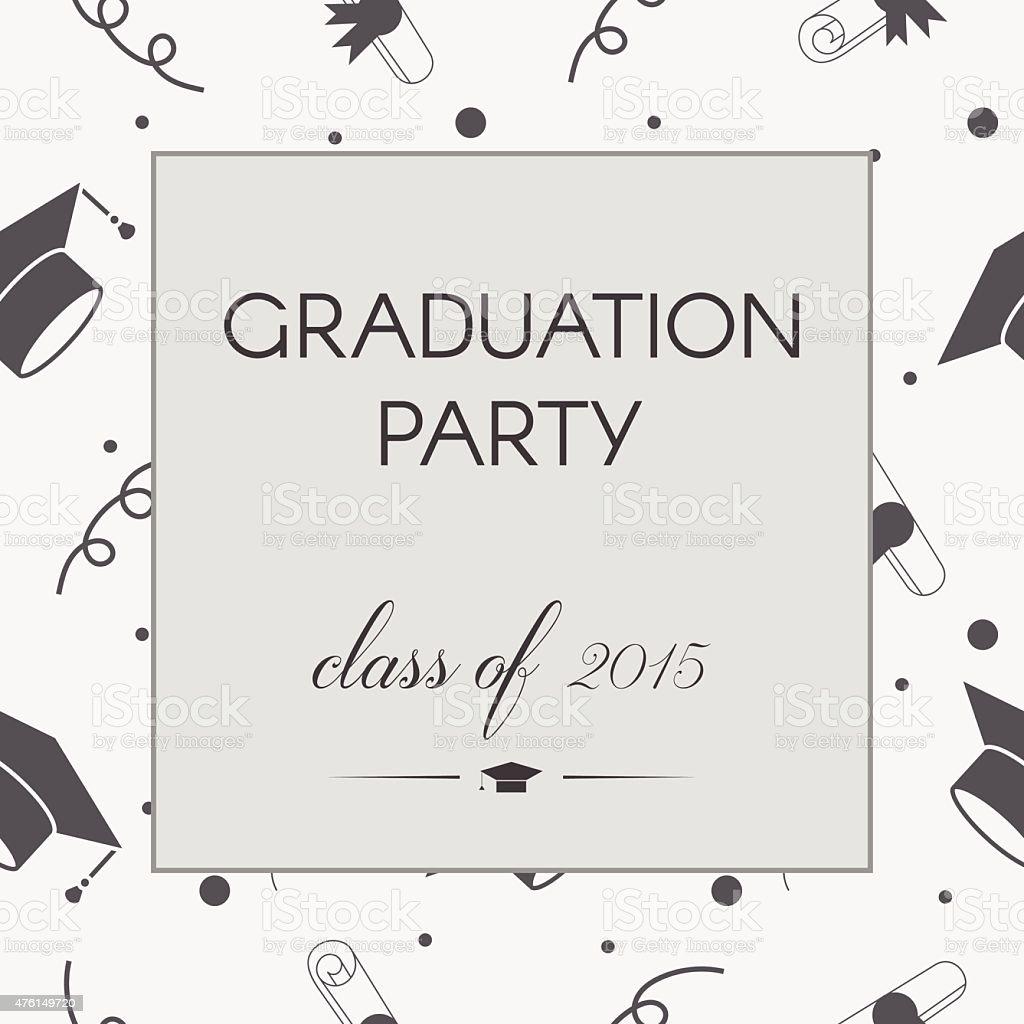 Graduation Party Invitation Postcard Template Royalty Free Stock Vector Art
