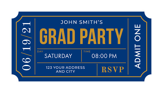Graduation Party Invitation Ticket Template.
