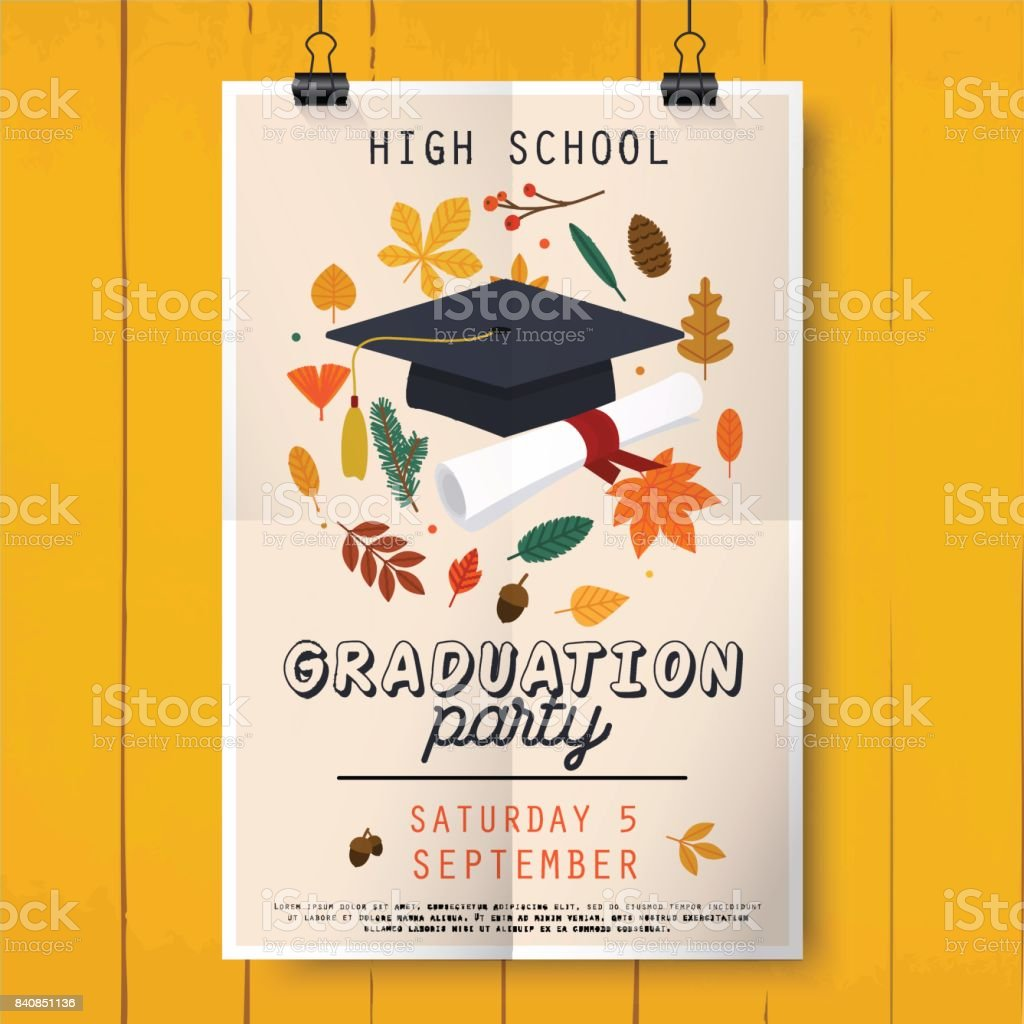 Graduation Party Poster With Graduation Cap Diploma And