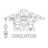 Graduation Postcard Vector Concept