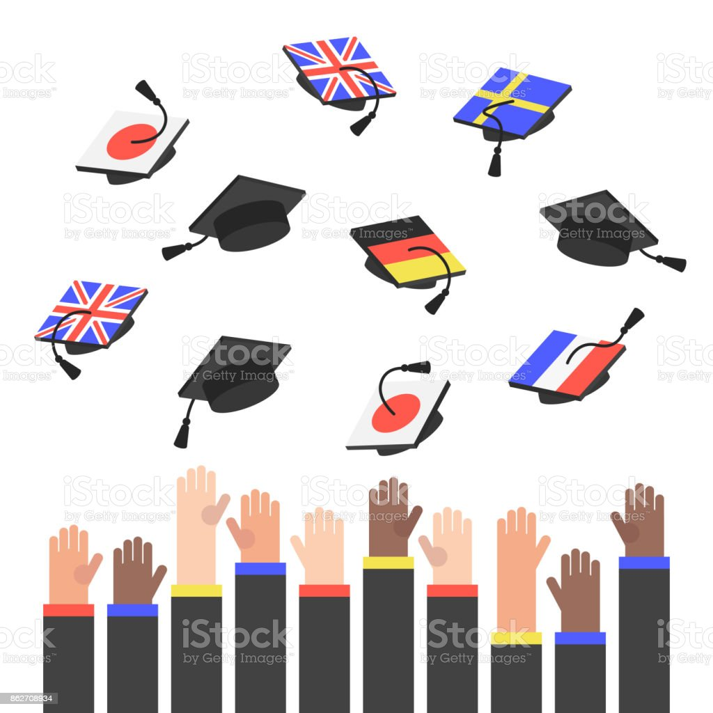 Remise des diplômes. Relief mains vomir chapeaux supérieures avec des drapeaux de différents pays / plat modifiable vector illustratuon, clipart - Illustration vectorielle