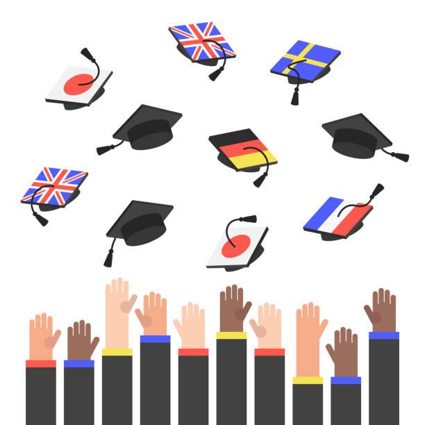 Graduierung. Die erhobenen Hände kotzte graduate Hüte mit Flaggen verschiedener Länder / flach bearbeitet werden Vektor Illustratuon, ClipArt – Vektorgrafik