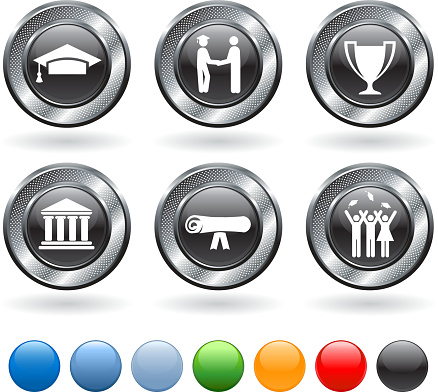 graduation royalty free vector icon set on metallic button