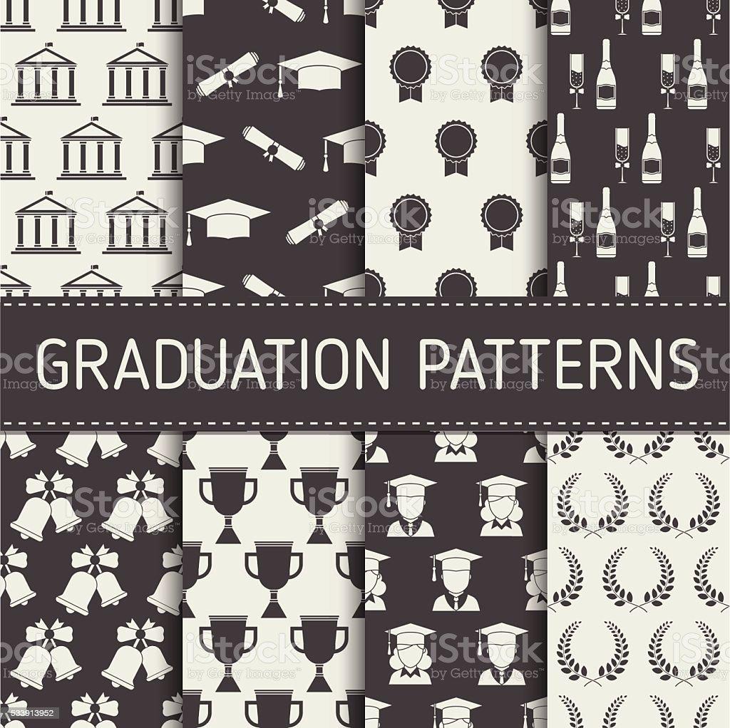 Colección de patrón continuo de graduación - ilustración de arte vectorial