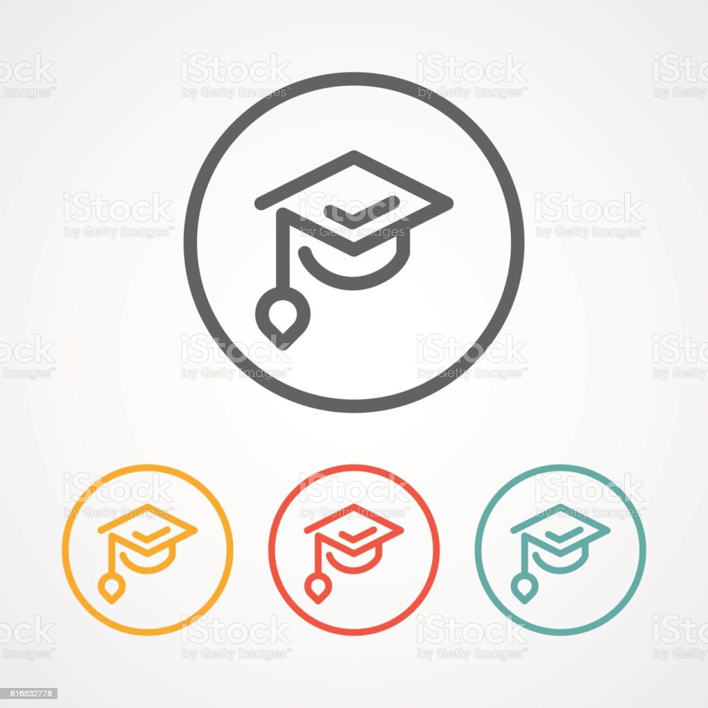 graduation stroke line icon icon with various color usable for icon vector art illustration