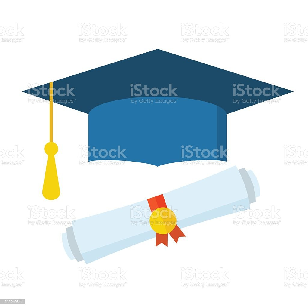 Graduation Student Hat and Diploma vector art illustration