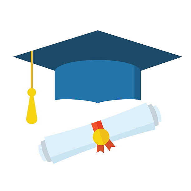Graduation Student Hat and Diploma vector art illustration
