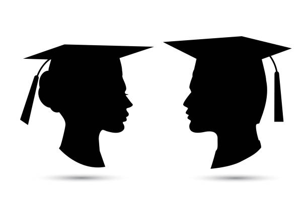 graduation silhouettes stock illustrations