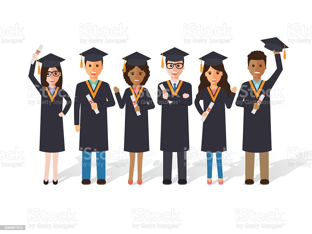 Graduation students vector art illustration