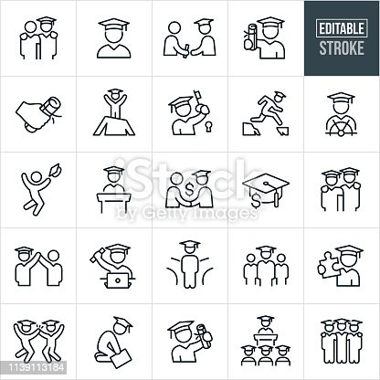 A set of graduates graduating icons that include editable strokes or outlines using the EPS vector file. The icons graduates, graduation day, graduates receiving diplomas, diploma, graduates wearing graduation caps and gowns, overcoming obstacles, graduation speech, commencement and other graduating students in different situations.
