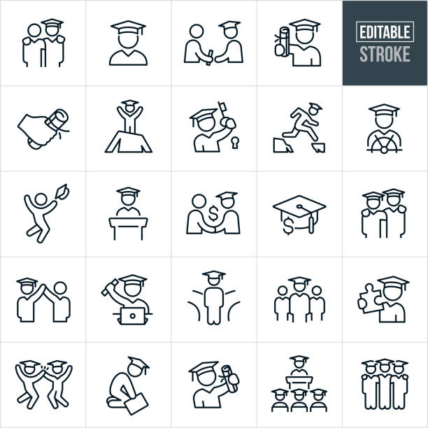Graduation Thin Line Icons - Editable Stroke A set of graduates graduating icons that include editable strokes or outlines using the EPS vector file. The icons graduates, graduation day, graduates receiving diplomas, diploma, graduates wearing graduation caps and gowns, overcoming obstacles, graduation speech, commencement and other graduating students in different situations. students stock illustrations