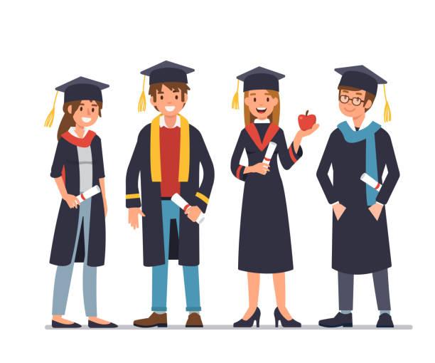 ilustraciones, imágenes clip art, dibujos animados e iconos de stock de graduación - graduación