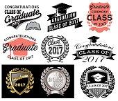 Graduation vector set Class of 2017, Congrats grad Congratulations Graduate