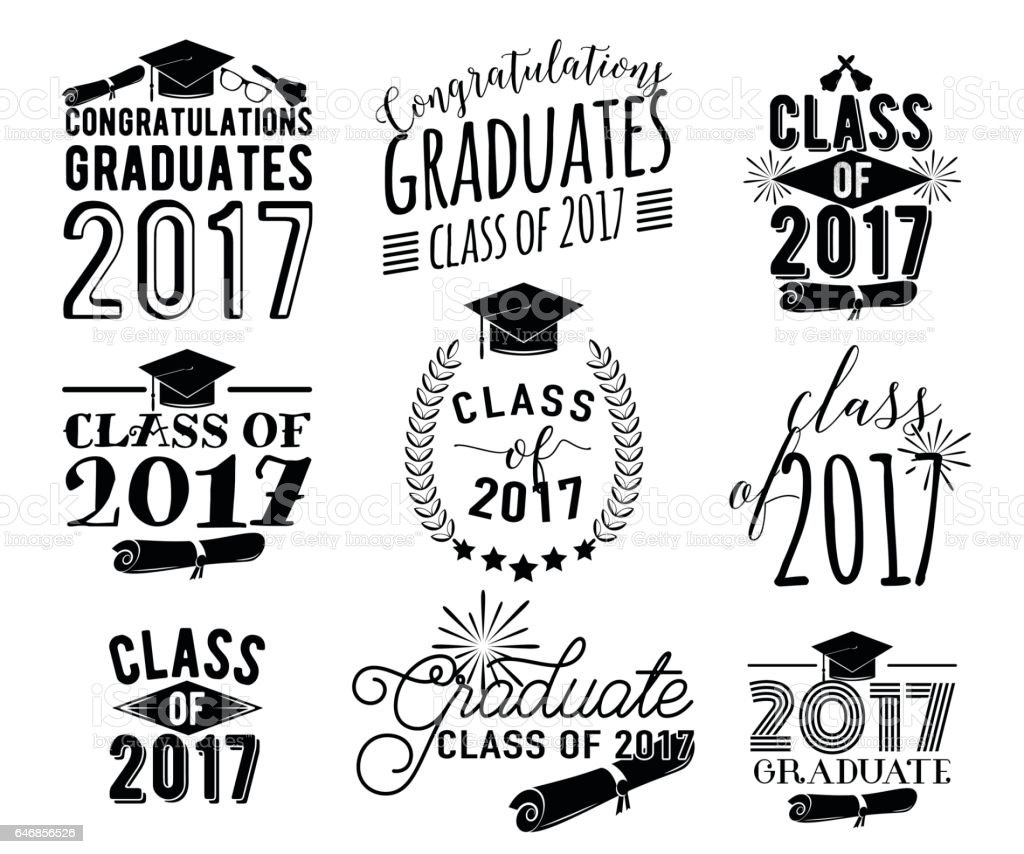 Graduation wishes overlays labels set. Monochrome graduate class of 2017 badges vector art illustration