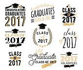 Graduation wishes overlays, labels set. Retro graduate class of 2017 badges