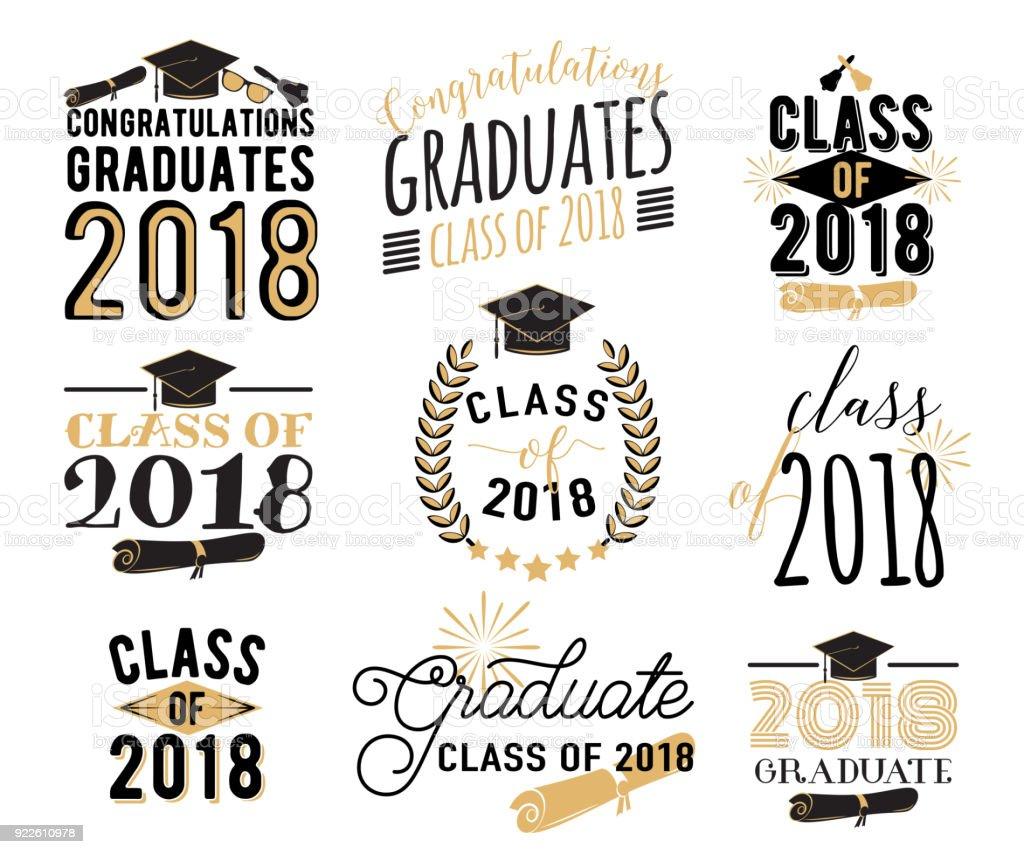 Graduation Wishes Overlays Labels Set Retro Graduate Class