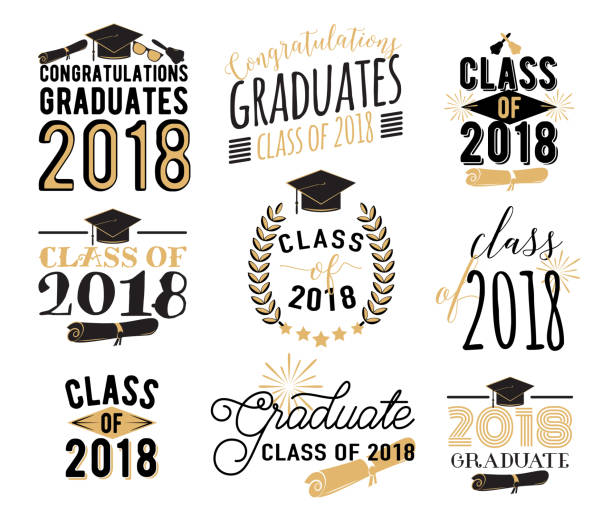Graduation wishes overlays, labels set. Retro graduate class of 2018 badges vector art illustration