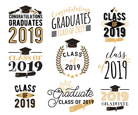 Graduation wishes overlays, lettering labels design set. Retro graduate class of 2019 badges. Hand drawn emblem with sunburst, hat, diploma, bell. Isolated. Sign or logo