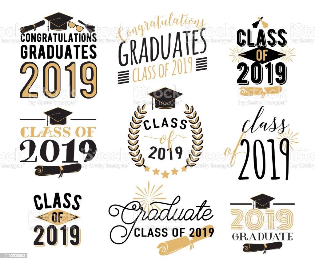 ●卒業希望のオーバーレイ、レタリングラベルデザインセット。2019バッジのレトロな大学院クラス。サンバースト、帽子、ディプロマ、ベルとの手描きのエンブレム。分離。サインまたはロ ベクターアートイラスト