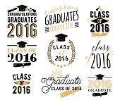 Graduation wishes overlays, lettering labels design set. Retro graduate class