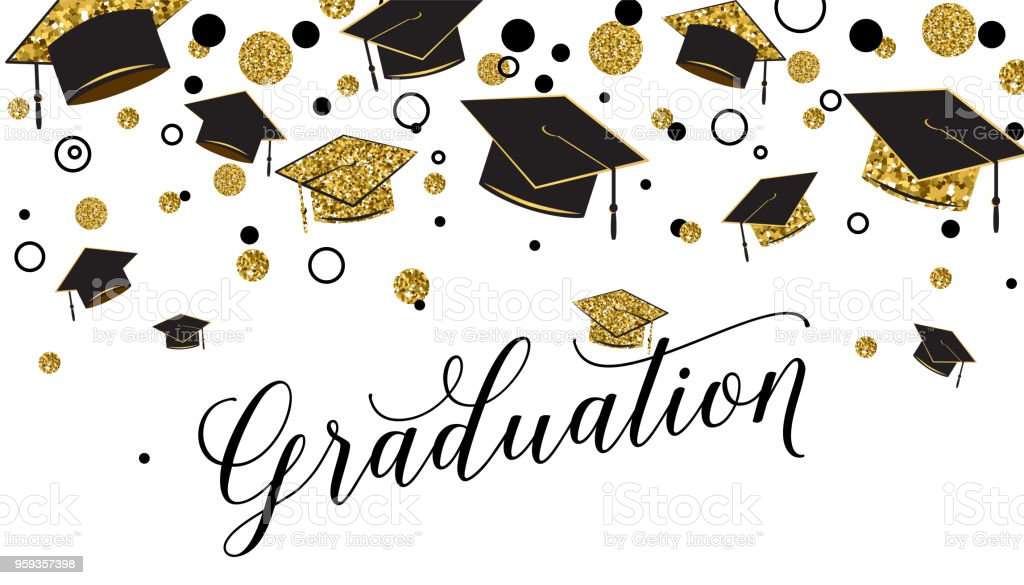 Ilustración de Palabra De Graduación Con Tapa Graduado Color Negro Y ...
