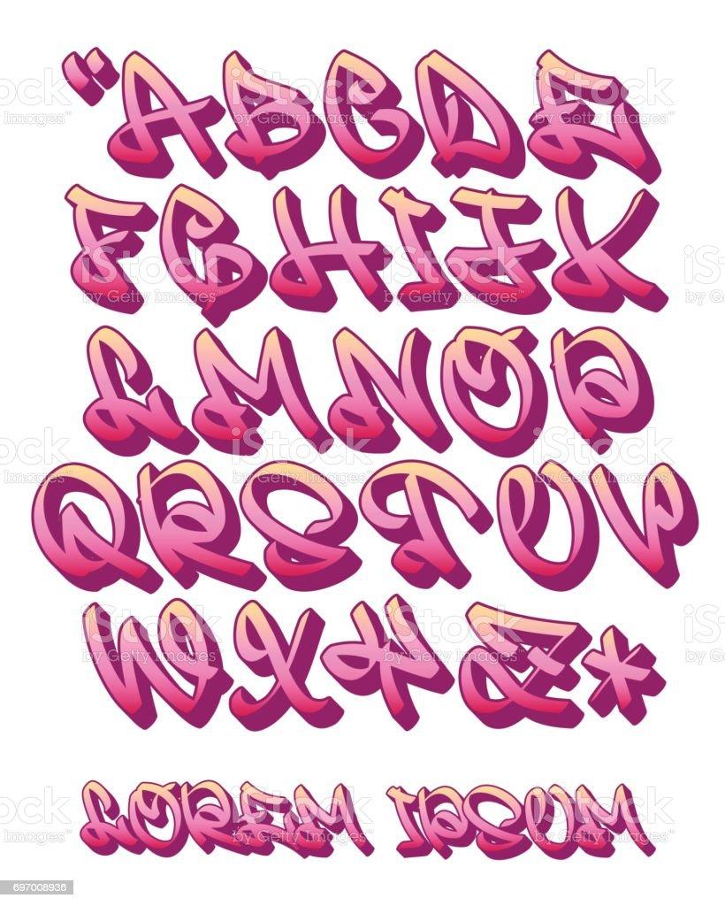Graffiti alphabet 3d hand written vector font royalty free graffiti alphabet 3d hand