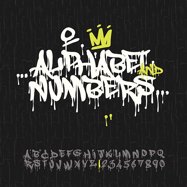 graffiti alphabet and numbers - graffiti fonts stock illustrations, clip art, cartoons, & icons