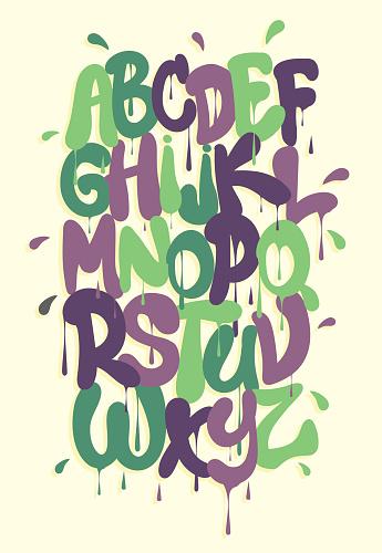 Graffiti alphabet, font vector, paint flows down the letters