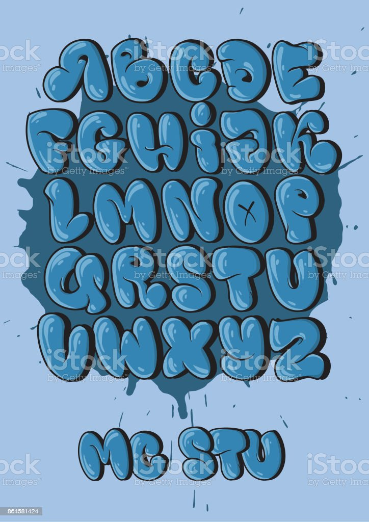 Graffiti alphabet in bubble style stock vector art more - Graffiti alphabet bubble ...
