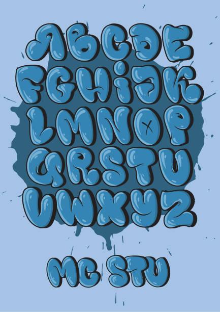 illustrations, cliparts, dessins animés et icônes de alphabet graffiti dans le style de la bulle. - polices de caractère en graffiti