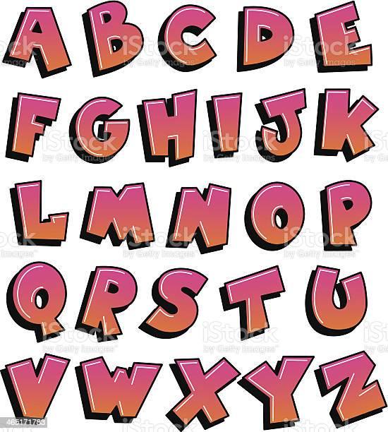 graffiti alphabet pink and orange vector