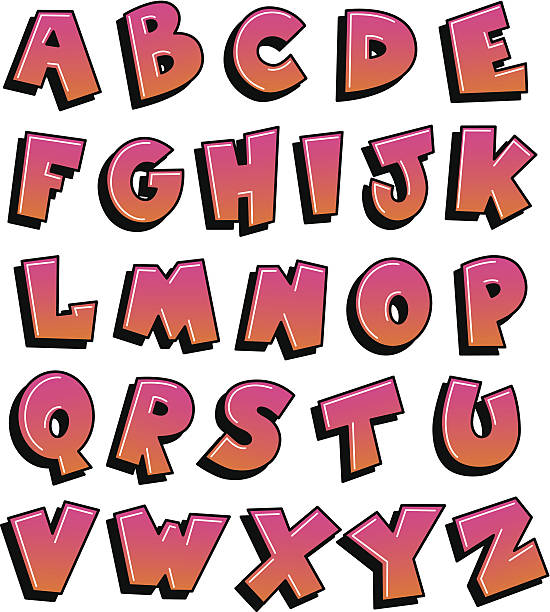 graffiti alphabet pink and orange - graffiti fonts stock illustrations, clip art, cartoons, & icons