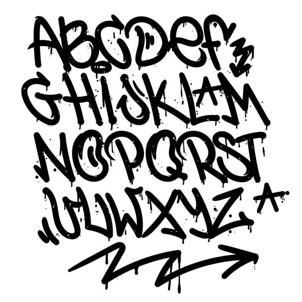 graffiti alphabet - graffiti fonts stock illustrations, clip art, cartoons, & icons