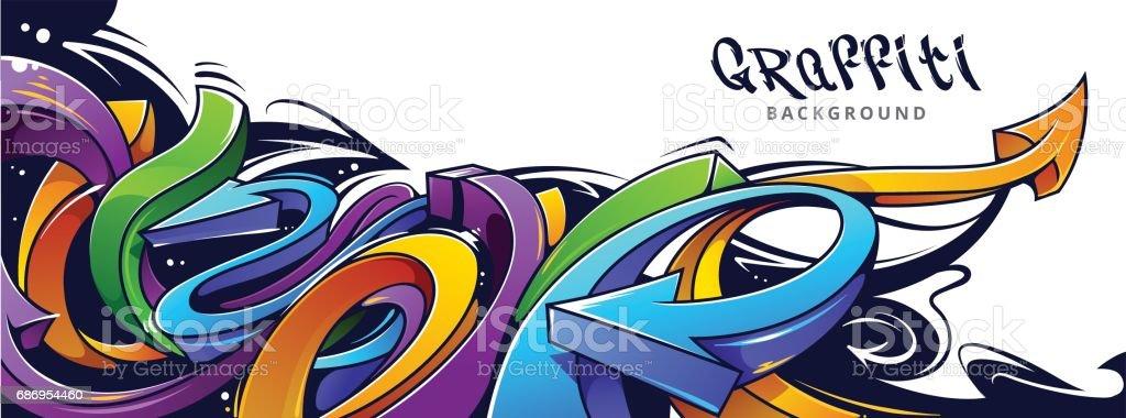 Fond de flèches de graffiti - clipart vectoriel de Abstrait libre de droits