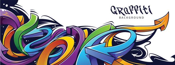 graffiti arrows background - graffiti backgrounds stock illustrations, clip art, cartoons, & icons