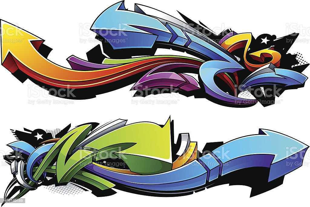 Graffiti arrows designs vector art illustration