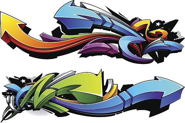 illustrations, cliparts, dessins animés et icônes de flèches design graffiti - graffiti