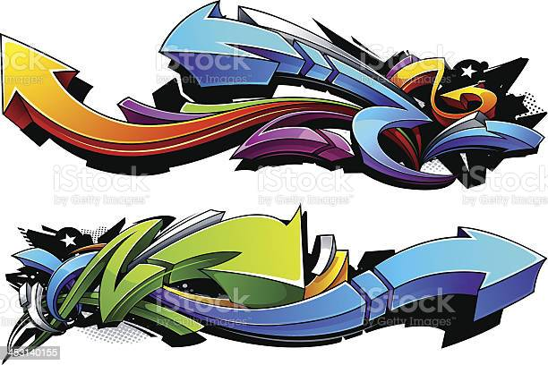 Flèches Design Graffiti Vecteurs libres de droits et plus d'images vectorielles de Abstrait