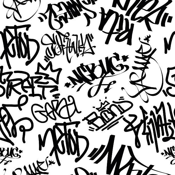 graffiti art seamless pattern - alphabet backgrounds stock illustrations