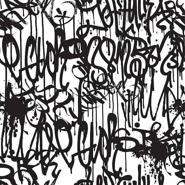Graffiti Background Pattern Graffiti background seamless pattern. Vector Tags, writing. Graffiti hand style, old school. Street art texture. Monochrome black and white colors  alphabet backgrounds stock illustrations