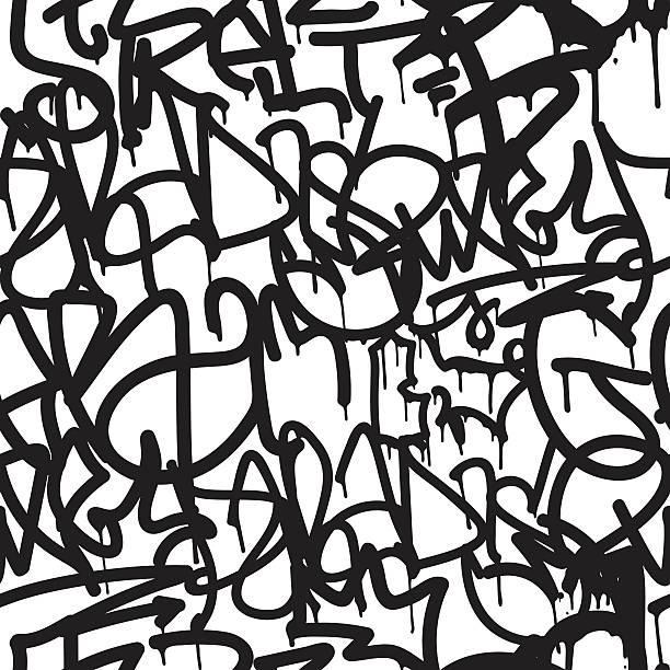 Graffiti background seamless pattern Graffiti background seamless pattern. Vector Tags, writing. Graffiti hand style, old school. King of style, street art texture. Monochrome black and white colors  alphabet backgrounds stock illustrations