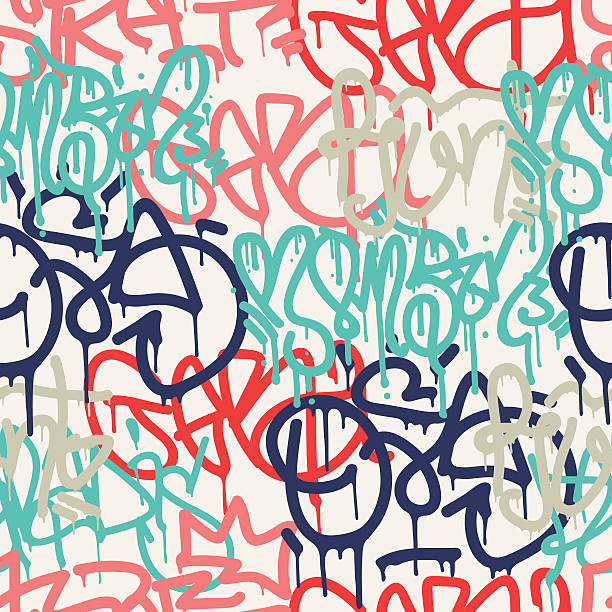 Graffiti background seamless pattern Colorful seamless pattern. Graffiti hand style old school doodles street art illustration. Composition with tags, signs, elements for skate board, street clothing streetwear wallpapers textile fabric alphabet backgrounds stock illustrations