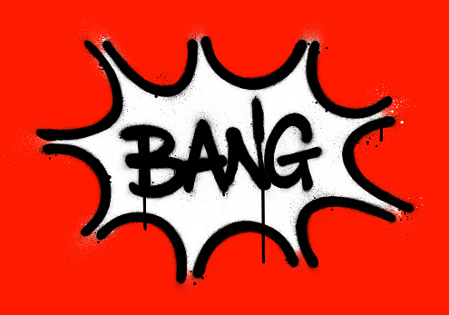 graffiti bang word explosion sprayed in black over red