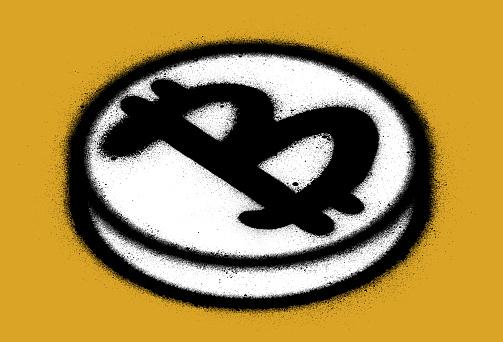 graffiti bitcoin coin on a yellow background