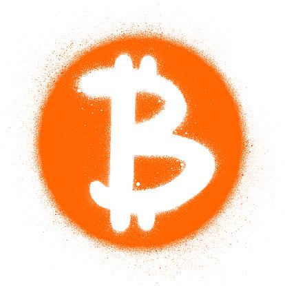 graffiti bitcoin icon sprayed in orange and white